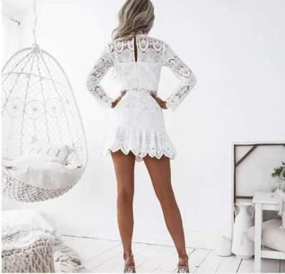 Fashion Lace Hollow Long sleeve Skater Dresses
