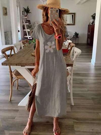 Fashion Floral Printed women short sleeve round neck Maxi dresses