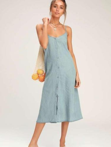 Fashion Jean Vest Bowknot Maxi Dresses