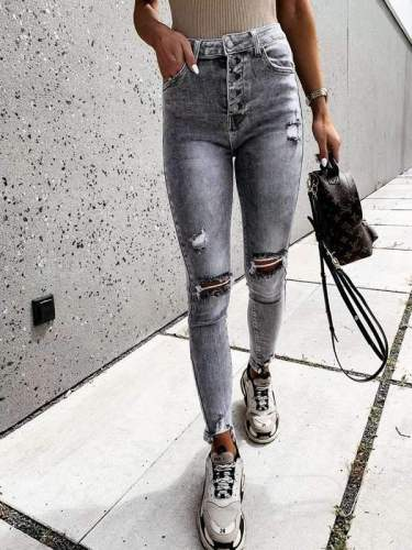 Stylish holes high waist for women long pants jeans