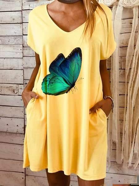 Casual Butterfly print V neck Short sleeve Shift Dresses