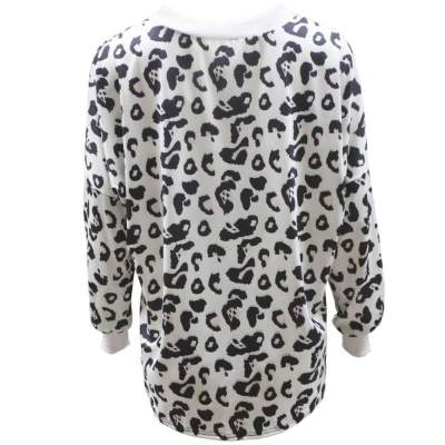 Round Collar Leopard Print Long Sleeve Sweaters