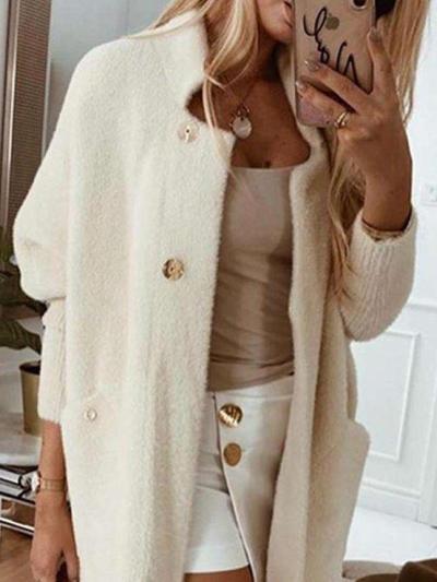 Fashion Pure Long sleeve Stand collar Coats