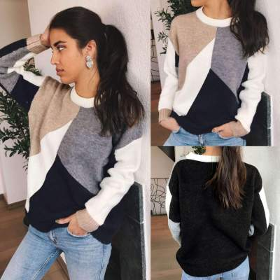 Fashion Gored Round neck Long sleeve Sweaters