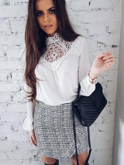 Casual Sexy Lace Hollow out Pure T-Shirts