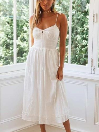 Fashion Sexy Pure Lacing V neck Vest Maxi Dresses