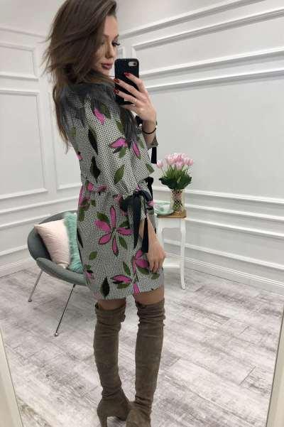 Fashion Print Long sleeve Lacing Skater Bodycon Dresses