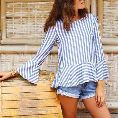 Fashion Stripw Gored Mandarin sleeve Blouses