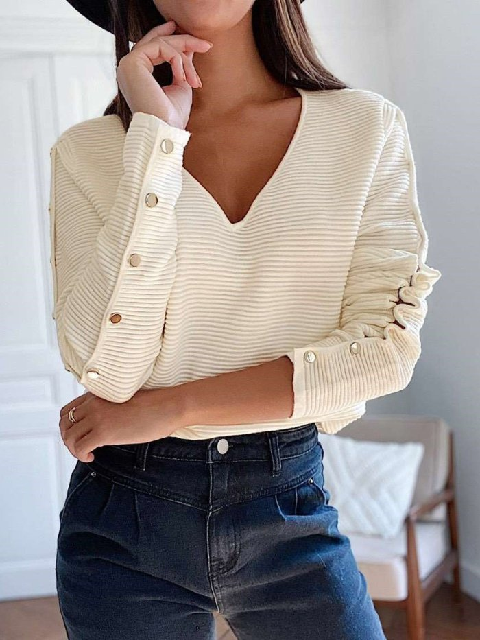 Fashion Pure V neck Long sleeve Fastener Sweaters