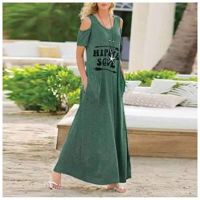 Fashion Off shoulder Round neck Big Hem Maxi Dresses