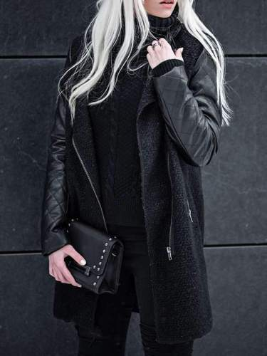 Cool women Zipper big lapel  jackets