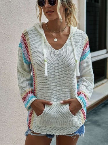 Fashion Stripe V neck Long sleeve Knit Hoodies Sweatshirts