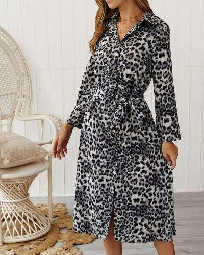 Casual Leopard print Long sleeve Skater Dresses