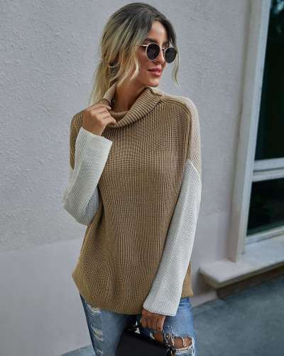 Fashion Gored Long sleeve High collar Knit Sweaters