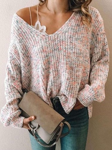 Fashion Casual V neck Long sleeve Knit Sweaters