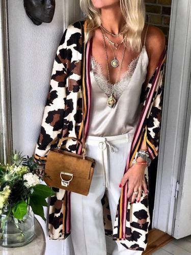 Women stylish long sleeve leopard printed long cardigans coats