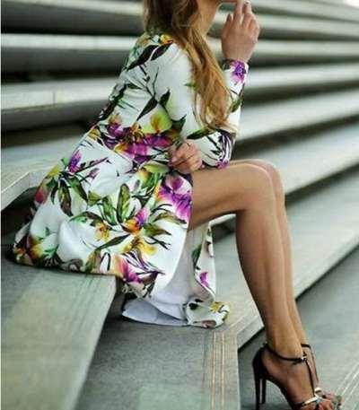 Fashion Print Round neck Long sleeve Skater Maxi Dresses