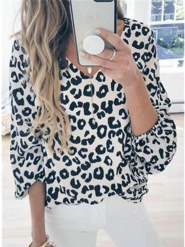 Fashion Casual Leopard print V neck Long sleeve T-Shirts