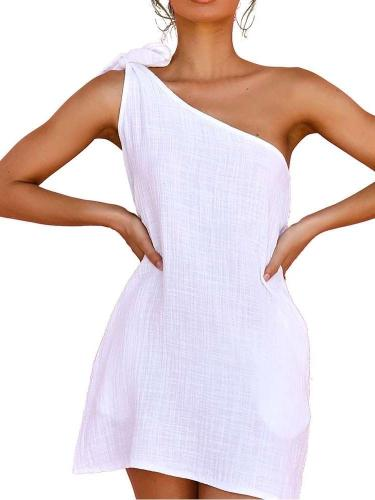 Pure Fashion Casual Loose Oblique shoulder Sleeveless Shift Dresses