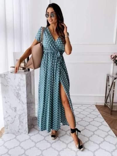 Fashion Point print V neck Short sleeve Lacing Maxi Dresses