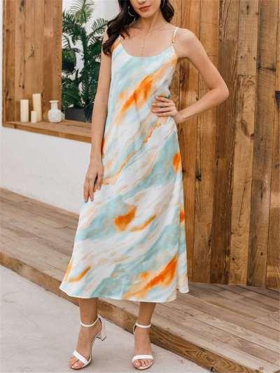 Fashion Print Vest Maxi Dresses
