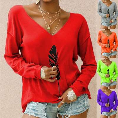 Fashion Feather printed V neck Long sleeve T-Shirts