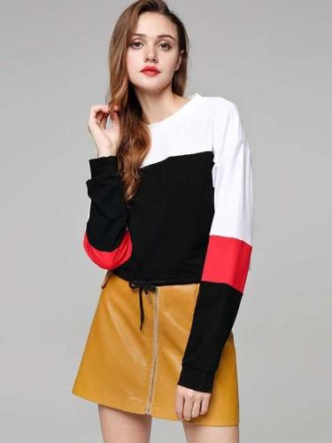 Fashion Gored Lacing Hoodies & Sweatshirts