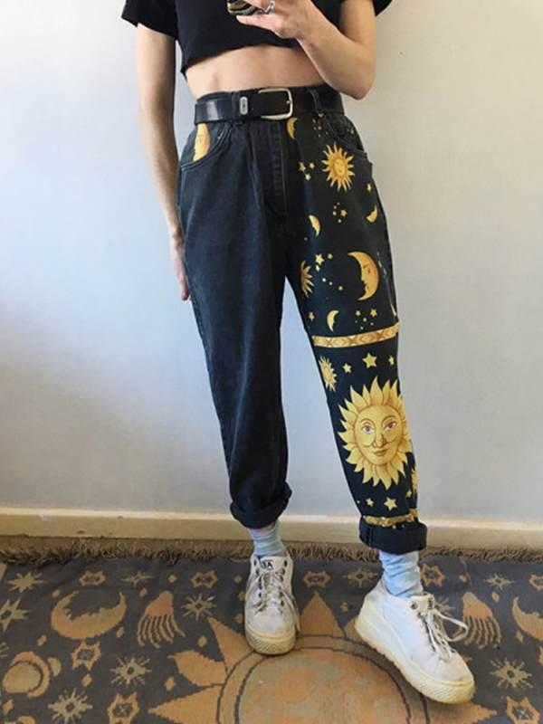 Sun printed women casual long Denim pants jieans