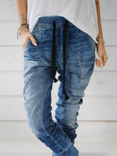 Fashion Denim tie waist trousers long pants