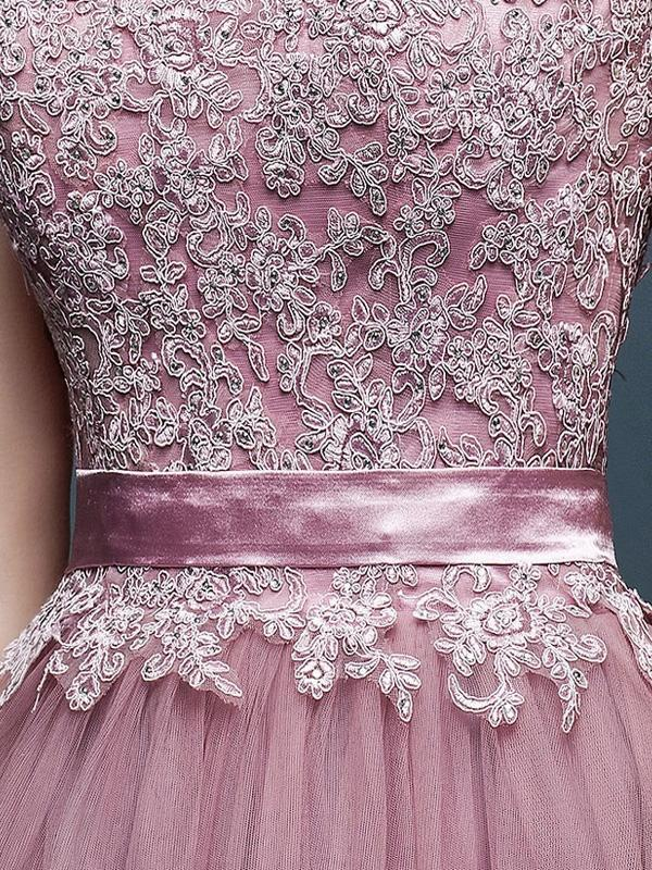 Lace Mesh Contrast Solid Color Sashes Deep V Neck Sleeveless Slip Evening Dresses