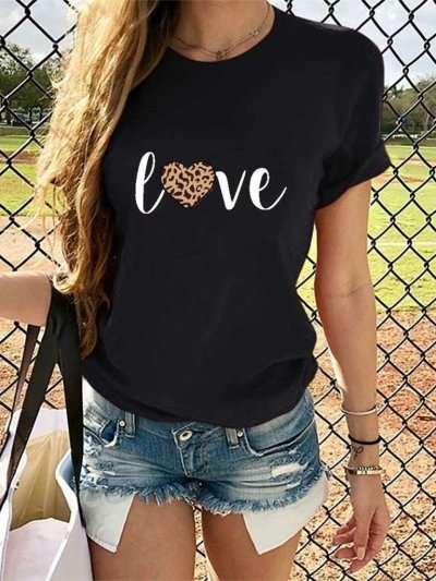 Fashion Word print Short sleeve Round neck T-Shirts