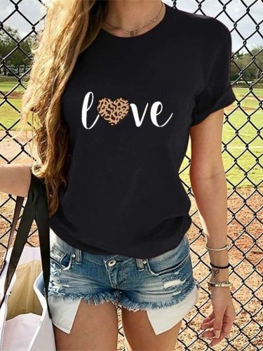 Fashion Word print Short sleeve Round neck T-Shirts