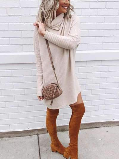 High neck women knit kahki sweater dresses shift dresses