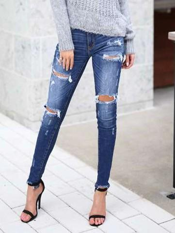 Fashion Broken hole Women Jeans Pants