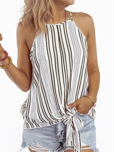Sexy Stripe Off shoulder Halt Vests