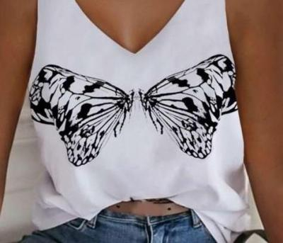 Casual Sexy Butterfly print V neck Vests