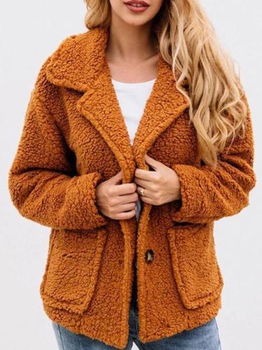Turn down collar plush button lapel pocket coats