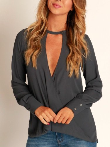 Fashion V neck Women Blouses