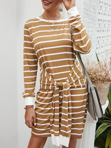 Chic round neck casaul women tie waist stripe printed bodycon dresses