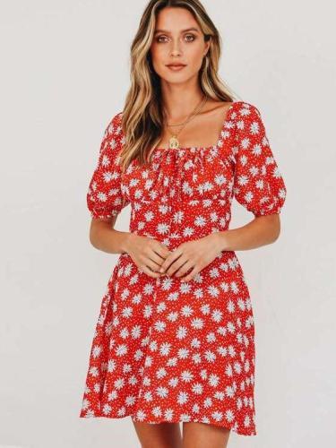 Fashion Print Short sleeve Lacing Skater Dresses