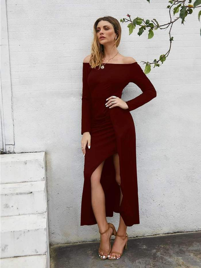 Fashion Pure Off shoulder Long sleeve Vent Evening Dresses