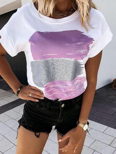Fashion Print Round neck Short sleeve T-Shirts