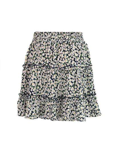 High waist flounce skirt with floral print a-line beach skirt
