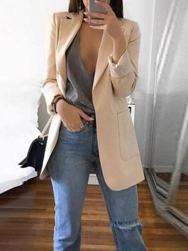 Solid Color Long-Sleeve Pocket Suit Woman Blazer