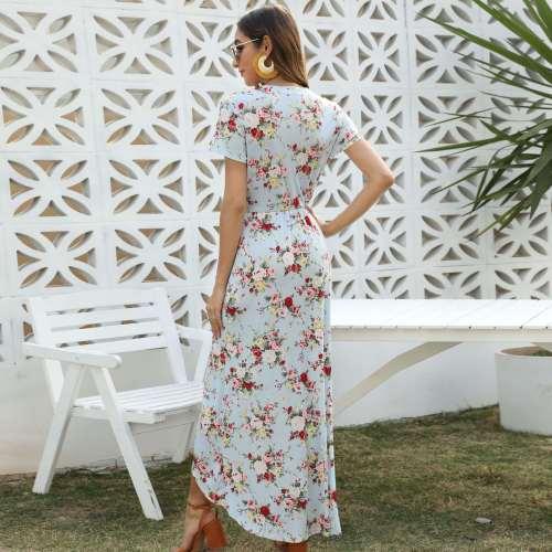 Fashion V neck Print Short sleeve Maxi Dresses