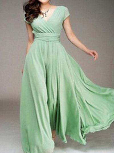 V-neck short-sleeved Bohemia Woman Skater Maxi Dresses