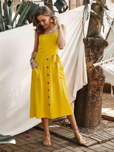 Fashion Pure Vest Fastener Backless Maxi Dresses