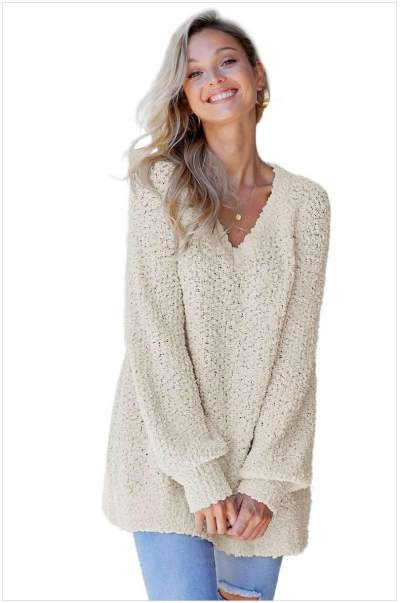 Loose Pure Knit Long sleeve V neck Sweaters
