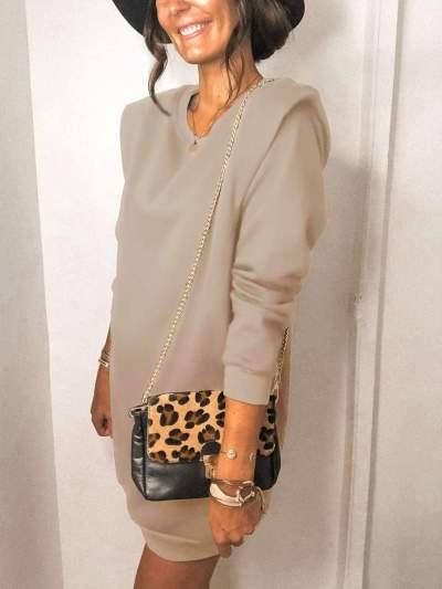 Fashion Pure Long sleeve Shift Dresses