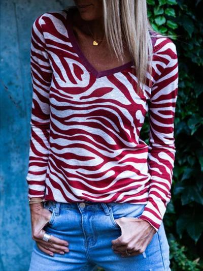 Zebra printed round collar long sleeve T-shirts